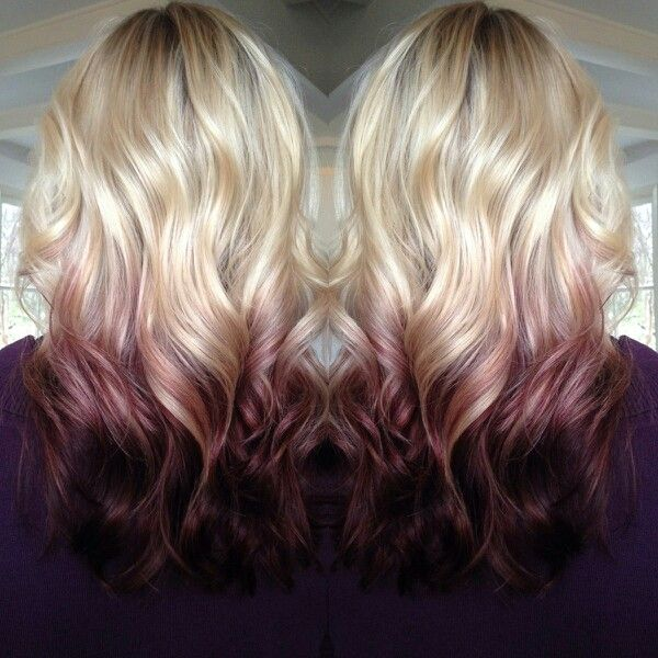 Blonde wave hairstyle with red highlights