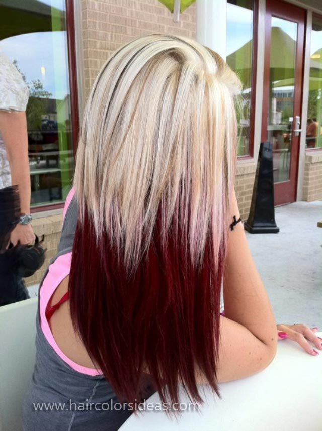 Long straight hair with red highlights
