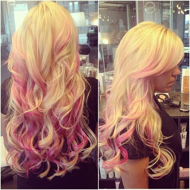 Long wavy blonde and pink hairstyle