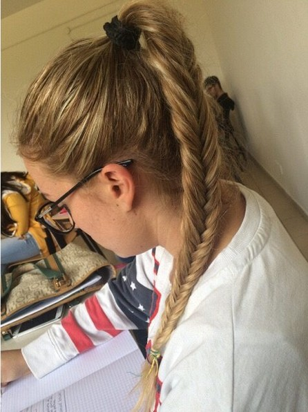 Fishtail braid ponytail hairstyle