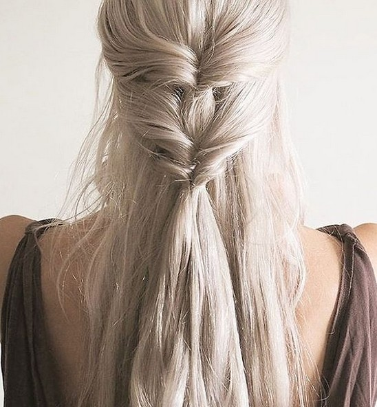 Simple half up half down hairstyle
