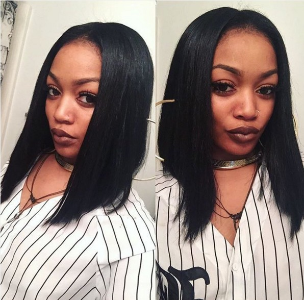 Long straight hairstyle for black women
