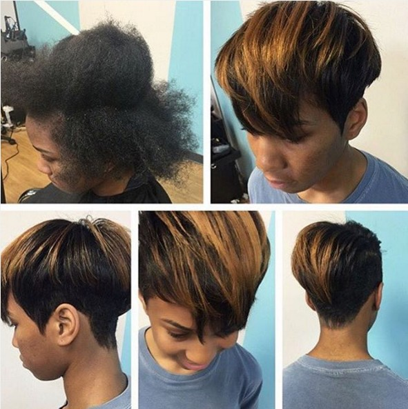 Short straight haircut with blonde highlights