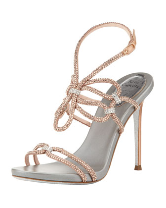 Rene Caovilla crystal high-heeled sandal with ankle wrap, rose gold silver