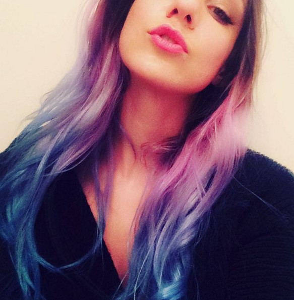 Purple to red ombre hairstyle