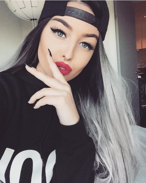 Cool ash gray hairstyle for long hair