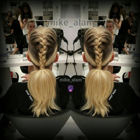 Braided ponytail for ombre hair