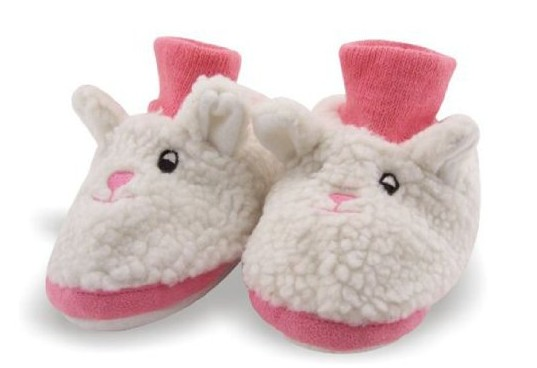Bunny Rabbit Toddler Socks Top Bootie White and Pink Faux Fur Slippers