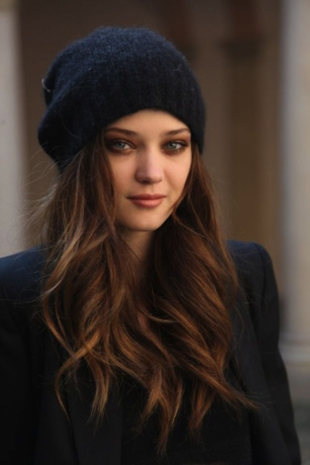 Brown hair with a hat