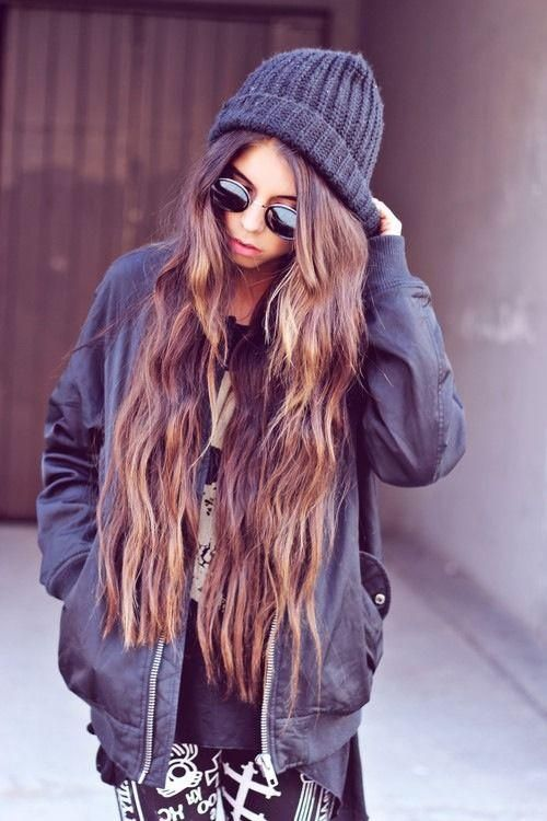 Long hair with a black hat