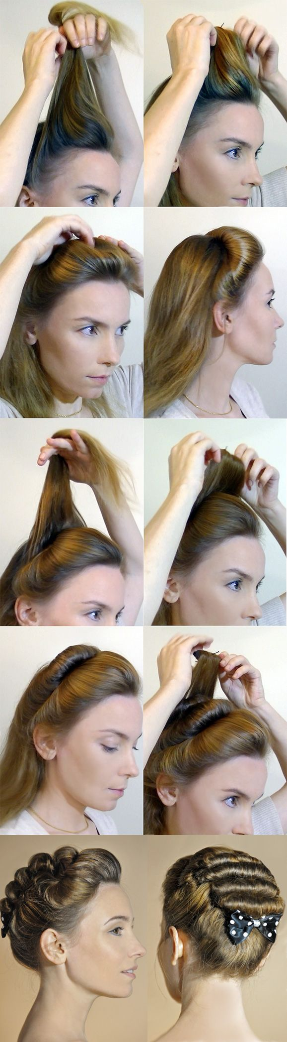 Beautiful pompadour hairstyle