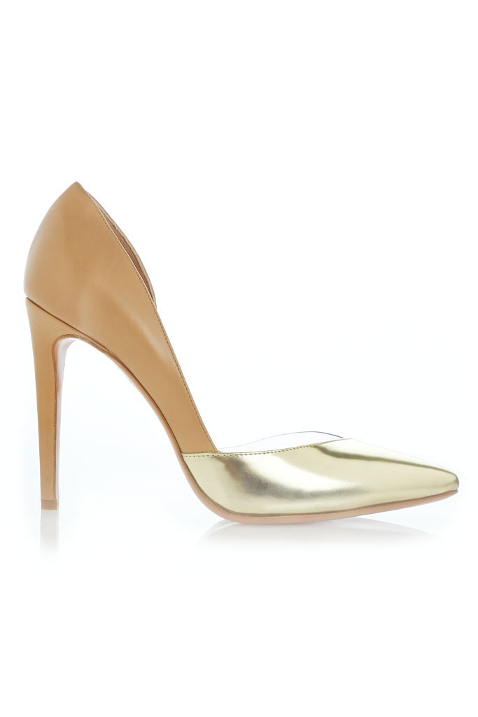 Aquazzura Spring 2014 pumps camel and metallic