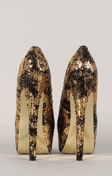 Rear view of the privileged Anouk Two Tone Sequined Almond Toe Stiletto Pump