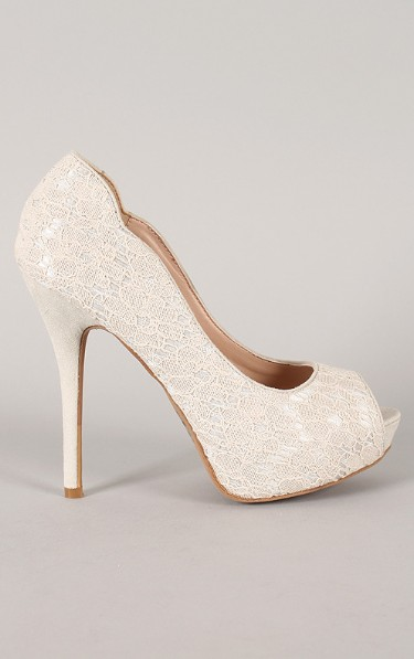 Side view of the Wile Diva Lounge Sonny-113 Peep Toe Platform Pump with lace