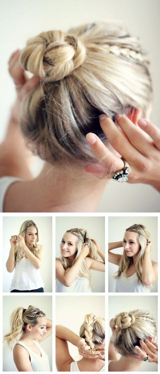 Nice braided bun hairstyle tutorial