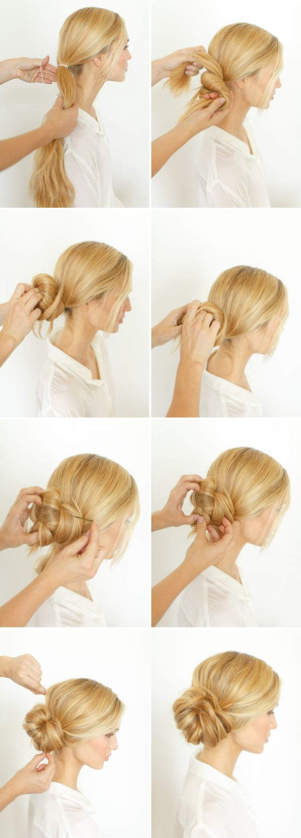 Casual twisted updo hairstyle tutorial