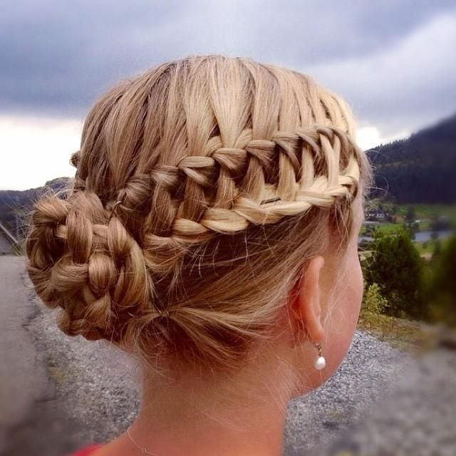 Waterfall braid in lace braid updo