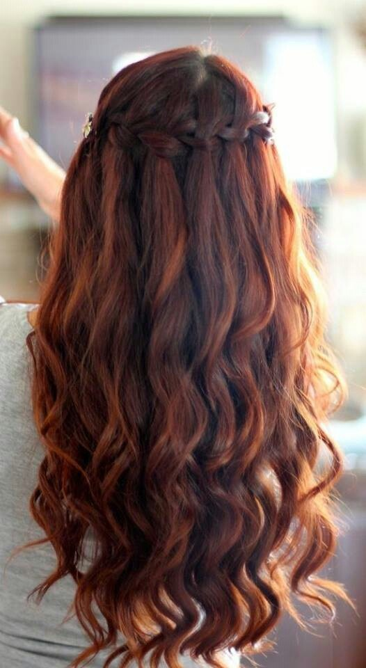 Waterfall braid for half up half down hairstyle