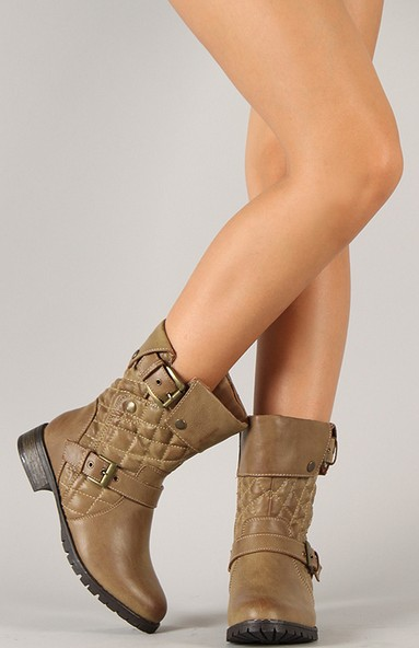 Wild Diva Lounge Bojana-24 Quilted Cuff Mid Calf Boot