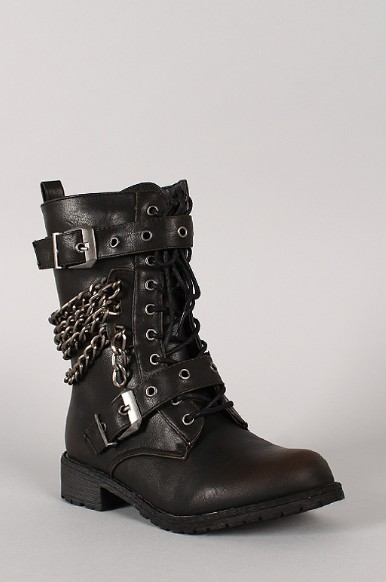 Wild Diva Lounge Timberly-119 Chain military lace-up boots
