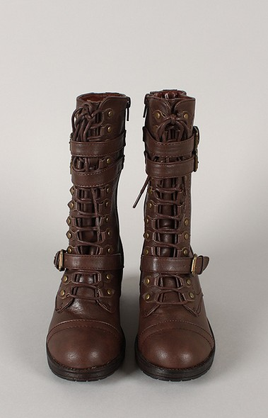Bamboo Quentin-10 Buckle Lacing Mid Calf Boot