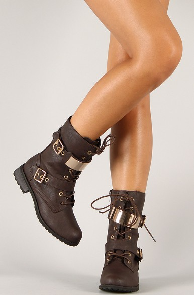 Wild Diva Lounge Timberly-95 mid calf military lace-up boots