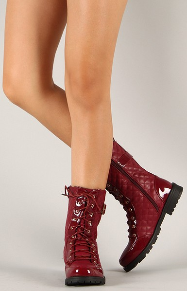 Bumper Finny-06A Quilted lace-up mid-calf boot