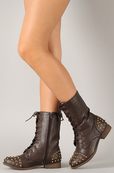 Libby-02 Studded Military Mid Calf Lace Up Boots