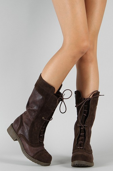 Qupid Raggae-16 lace-up boots with round toe and medium calf