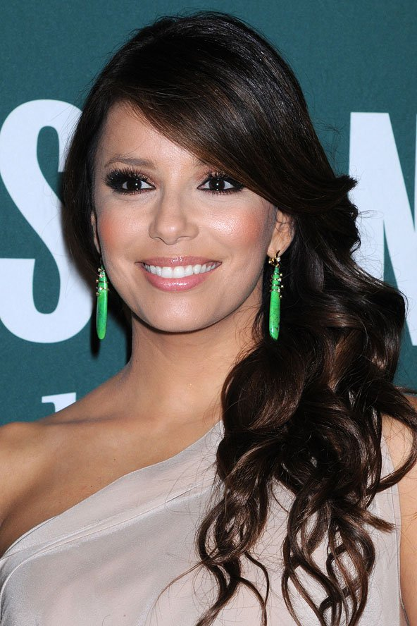Eva Longoria Side ponytail for long wavy hair