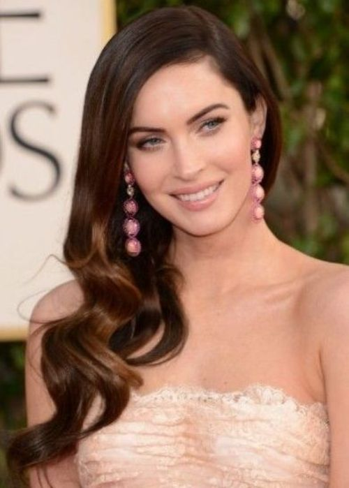 Megan Fox Sideswept Long Wavy Hairstyle