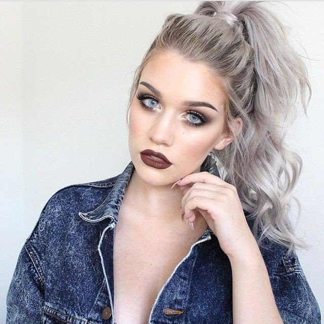 Messy High Ponytail for Silver Gray Hair