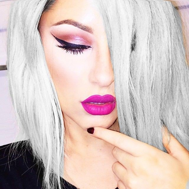Long Straight Hairstyle for Silver Gray Hair