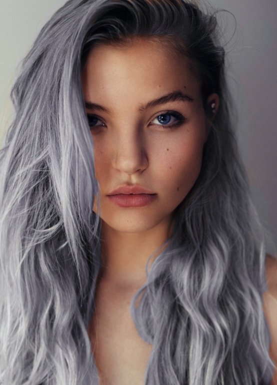 Sideswept Hairstyle for Long Silver Gray Hair