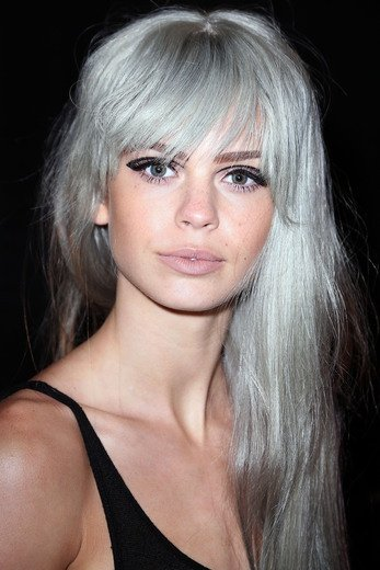 Long Silver Gray Hairstyle with Bangs