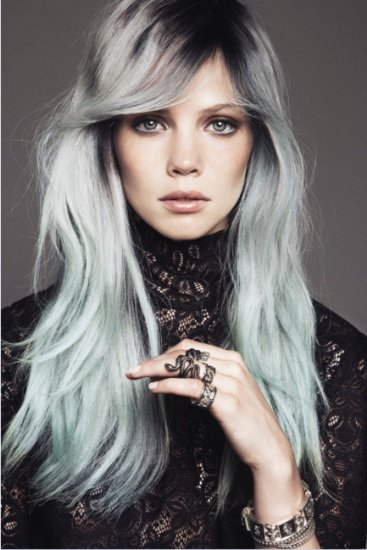 Long Wavy Silver Gray Hairstyle with Bangs