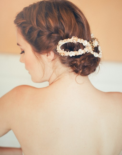 Wedding updo hairstyle with headwear