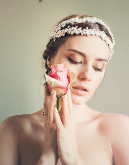 Bridal hairstyle with headgear