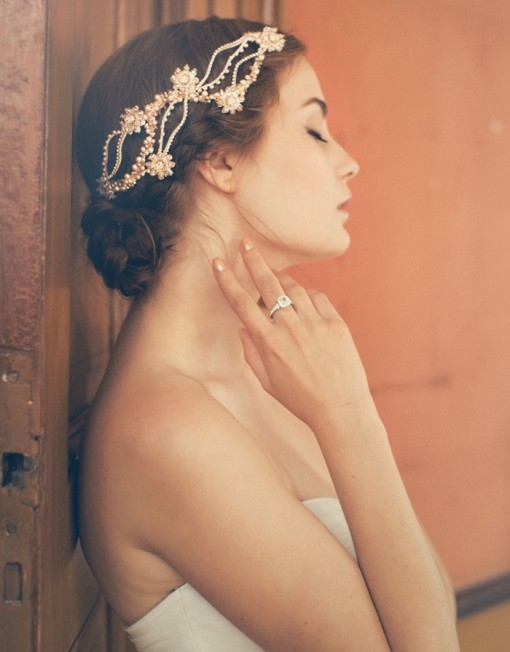 Bride updo hairstyle with headband