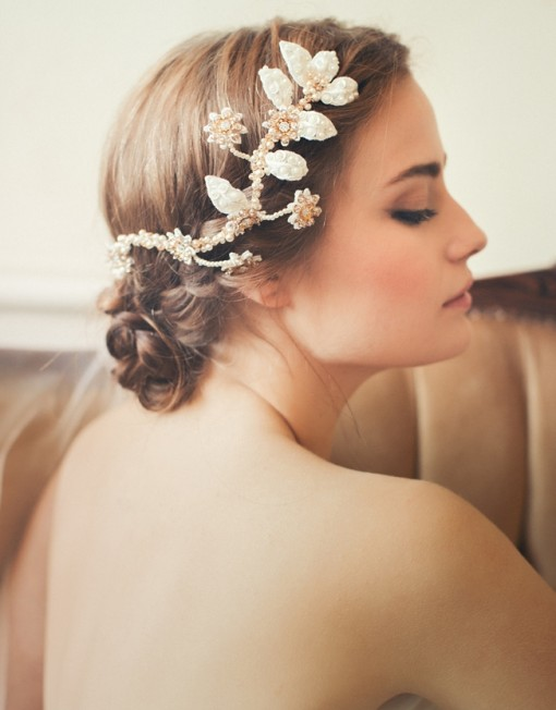 Bride updo hairstyle with headgear