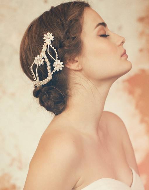 Beautiful bride updo hairstyle with headgear