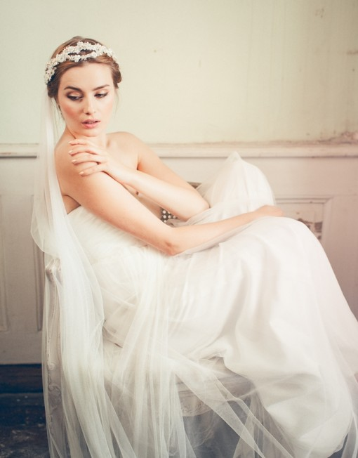 Wedding updo hairstyle with veil