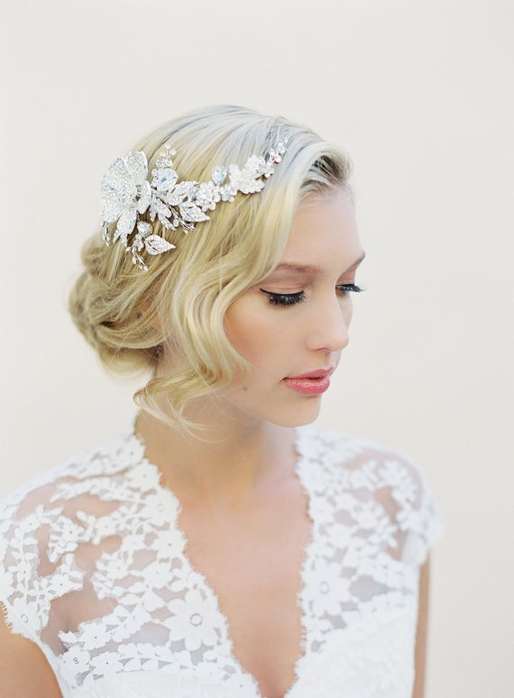 Bride updo hairstyle with hair pieces