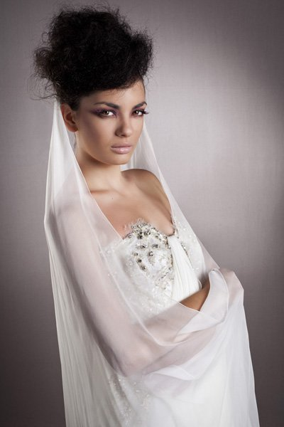 Bridal hairstyle with veil