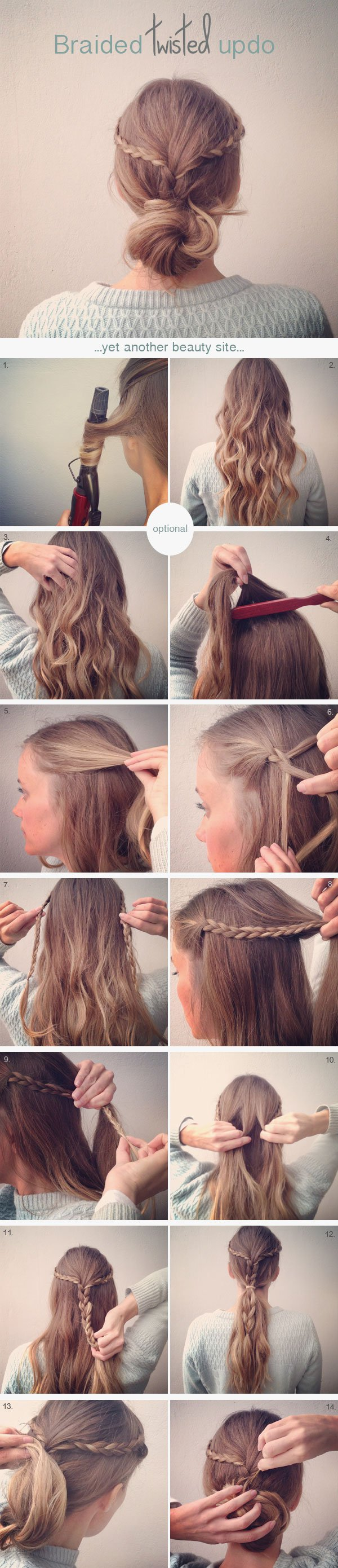 Loosely twisted updo with braid