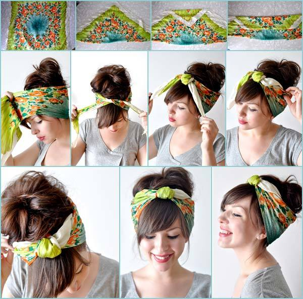 Messy bun hairstyle with scarf