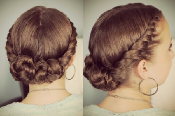 Lateral twists in bun hairstyle