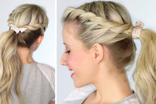 High ponytail with side twists