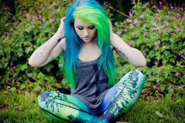 Nervous blue and green hair