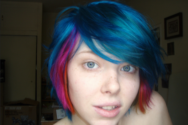 Blue and pink short hair
